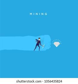 businessman mining diamond, hard work illustration