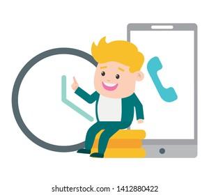 businessman mobile clock coins online payment vector illustration