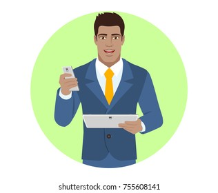 Businessman with mobile phone holding digital tablet PC. Portrait of Black Business Man in a flat style. Vector illustration.