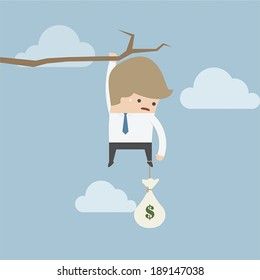 Businessman with money bag hanging on a branch, VECTOR, EPS10