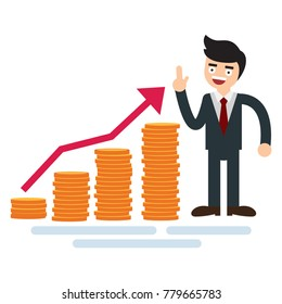 Businessman with money growth chart of golden coins and arrow.