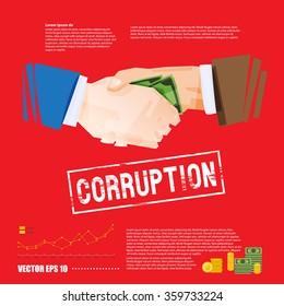 Businessman with money handshaking. corruption concept - vector illustration