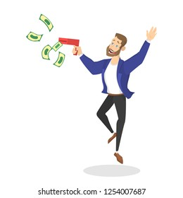 Businessman with money. Happy successfull man jumping with money banknotes. Financial well-being. Isolated vector illustration in cartoon style