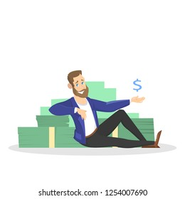 Businessman with money. Happy successfull man sitting around money banknotes. Financial well-being. Isolated vector illustration in cartoon style