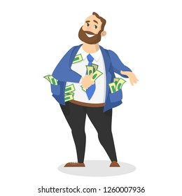 Businessman with money. Happy successfull man hold a pile of money banknotes. Financial well-being. Isolated vector illustration in cartoon style