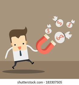 businessman with money red magnet