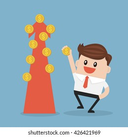 businessman and money tree.