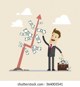Businessman and money tree. A man in a suit  reaps greenbacks  from a money tree.  Illustration, Vector EPS 10