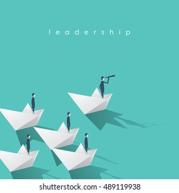 Businessman with monocular on paper boat as a symbol of business leadership. Visionary leading team, teamwork concept. Eps10 vector illustration.