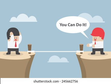 "Businessman motivate his friend to cross the cliff by saying ""You Can Do It"", VECTOR, EPS10"