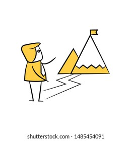 businessman and mountain flag for achievement concept icon yellow stick figure