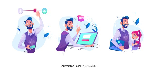 Businessman moving slider switch button for adjustable price or budget money limits. Man sitting at laptop snapping fingers make easy online order, teacher and schoolgirl. Cartoon vector illustration