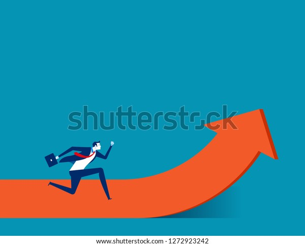 Businessman moving up. Concept business vector illustration, Growth, Running