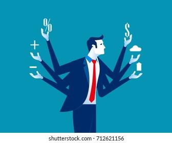 Businessman and multitasking. Concept business vector illustration.