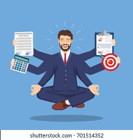 Businessman with multitasking lots of arms doing various office tasks in lotus pose. Keep calm. Business concept. Vector illustration in flat style