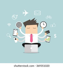 Businessman with multitasking and multi skill vector.