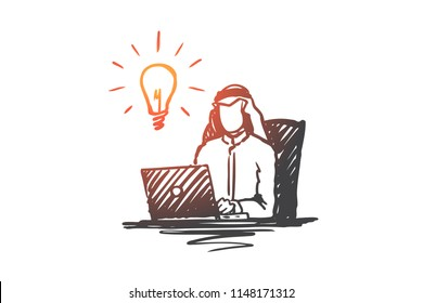 Businessman, muslim, arab, islam, idea, brainstorming concept. Hand drawn muslim businessman working with laptop concept sketch. Isolated vector illustration.