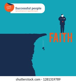 Businessman near an abyss standing on the word faith. Business concept illustration. - Vector