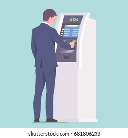 Businessman near ATM with credit card in hand. Vector illustration
