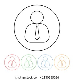 Businessman with necktie icon in a modern thin line style vector business avatar with neck tie symbol outline with four color variations