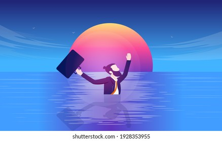 Businessman in need - Desperate man swimming in water with suit and briefcase. Business danger and desperation concept. Vector illustration.