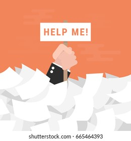 Businessman need help under a lot of white paper, flat design