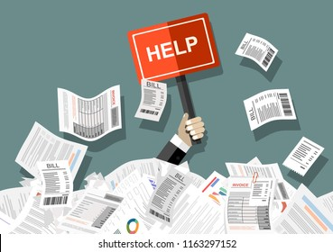 Businessman needs help under a lot of bills, in the office and requests for help. Can not pay bills, having financial troubles. Planning budget concep. Flat vector illustration.