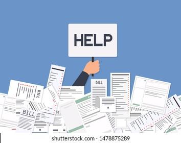 Businessman needs help under a lot of bills. Paying bills. Payment of utility, bank, restaurant and other bills. Flat design modern vector illustration concept.