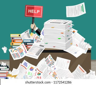 Businessman needs help under a lot of documents and holding a HELP placard, in office.