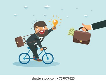 Businessman with new idea riding a bicycle towards a hand holding money bag. Investment or Monetization concept. Vector colorful illustration
