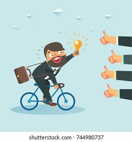 Businessman with new idea riding a bicycle towards lots of likes hands. Successful startup concept. Vector colorful illustration