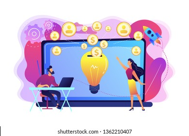 Businessman with new project at laptop and people funding it via internet. Crowdfunding, crowdsourcing project, alternative financing concept. Bright vibrant violet vector isolated illustration