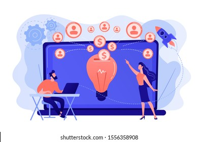 Businessman with new project at laptop and people funding it via internet. Crowdfunding, crowdsourcing project, alternative financing concept. Pinkish coral bluevector isolated illustration