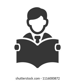 Businessman with Newspaper Icon on White Background. Vector