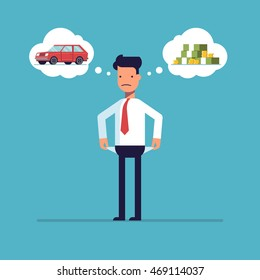 Businessman with no money, bankrupt. Man dreams of a car. The manager thinks about the financial issue. Poor man. A character in a flat style, isolated on a blue background.