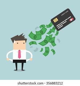 Businessman no money. debt from credit card. concept of debt