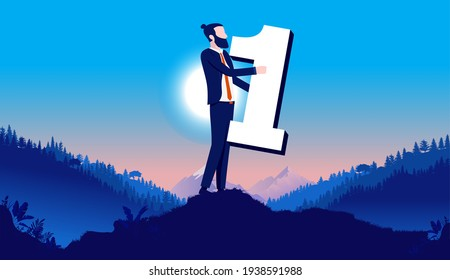 Businessman number one - Man holding number in hands outdoors in landscape. Best, first place and on top concept. Vector illustration.