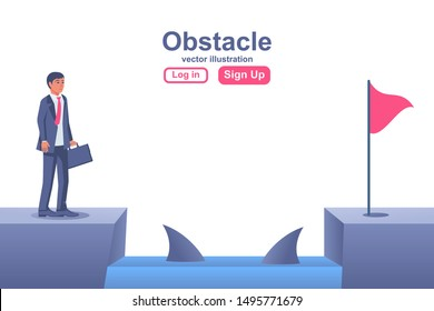 Businessman obstacle metaphor. Conquering adversity. Hurdle on way concept. Overcoming obstacle on road. Vector illustration flat design. Barrier on way to success. Vector illustration flat design.