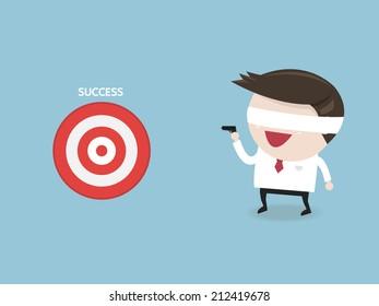 Businessman off eye shoot target, flat design