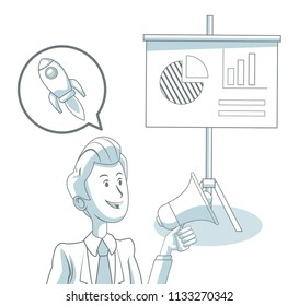 Businessman with office elements