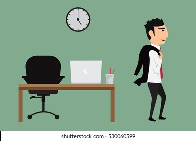 Businessman in office and finish working gonna go home. business concept vector illustration.