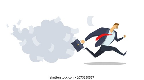 Businessman in office suit running fast towards his goal. Race for success. Office work. Deadline. Hurry up. Concept flat vector illustration, isolated on white background.