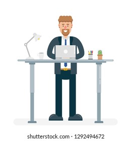 Businessman in office suit works on laptop behind modern ergonomic standing desk. Flat vector illustration.