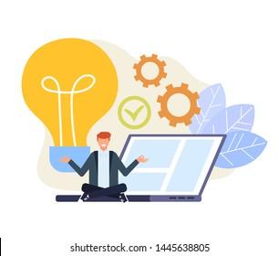 Businessman office worker character having good fresh idea. Vector flat cartoon graphic design illustration