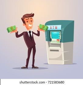 Businessman office worker character withdrawing money from ATM. Vector flat cartoon illustration