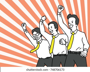 Businessman, office worker, clenched fist raising in the air with cheering happiness expression. Success, winning, happy, celebration, motivation concept. Outline, linear, thin line art design.