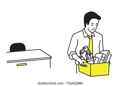 Businessman or office worker getting fired, and holding belonging box, walking left the office. Outline, thin line art, contour, cartoon character, linear, hand drawn sketch design.