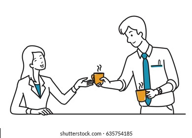 Businessman, office worker, give a cup of coffee to his colleague, friend, partner, co-worker, as his kindness, friendship, good relationship. Line draw, sketch, doodle style, simple design.