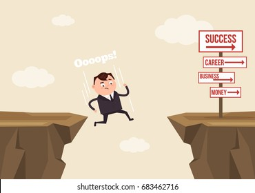 Businessman office worker man character jumps over ravine and fall down. Fail concept. Vector flat cartoon illustration
