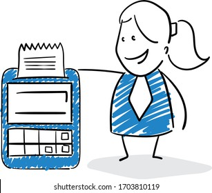 Businessman - Office worker manager and cashier machine Girl hand drawn doodle line art cartoon design character - isolated vector illustration outline of woman.